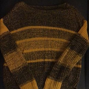 yellow and black stripped sweater